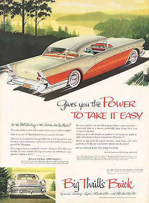 1957 Buick Century Red and White 2 dr Hardtop Automobile Ad Whitewalls Chrome - Paperink Graphics