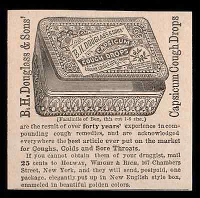 Cough Drops Ad Capsicum Cures Decorative New English Enameled Box 1884 Ad