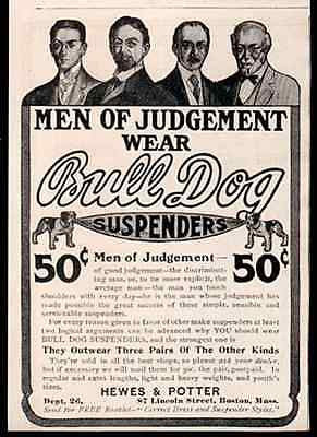 Bull Dog Suspenders for Men 1906 Print AD