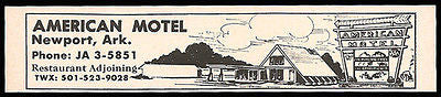 American Motel Ad Newport Arkansas 1964 Roadside Ad Travel - Paperink Graphics