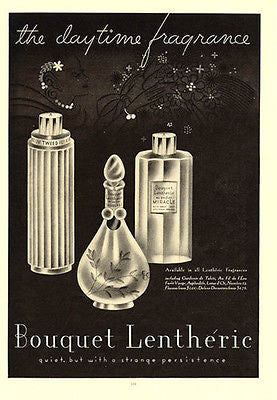 Bouquet Lentheric Daytime Fragrance Deco Perfume Bottle Graphics 1937 Ad - Paperink Graphics
