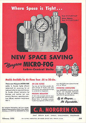 1959 Guage Dial Micro Fog Lubrication Control Unit Vintage Ad Norgren Colorado - Paperink Graphics