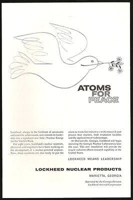 Lockheed Nuclear Energy Atoms For Peace Aviation 1958 Dove Print Ad