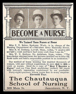 Nurse Chautauqua School of Nursing Home Medical Training 1912 Photo Ad