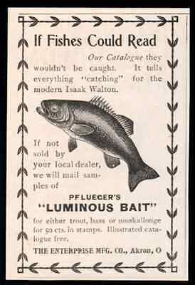 Lueger's Luminous Bait Trout Bass Muskie Fish 1898 AD Fishing - Paperink Graphics