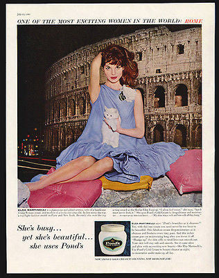 Actress Elsa Martinelli White Kitten Ponds Cold Cream Ad 1960 ROME - Paperink Graphics