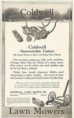 Coldwell 1913 Lawn Mowers Cutter Horse Putting Green Ad