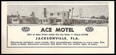 Ace Motel Ad Jacksonville Florida AC Phone 1953 Roadside Photo Ad Travel