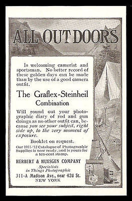 Graflex Steinheil Camera Combination 1911 Ad Camping - Paperink Graphics