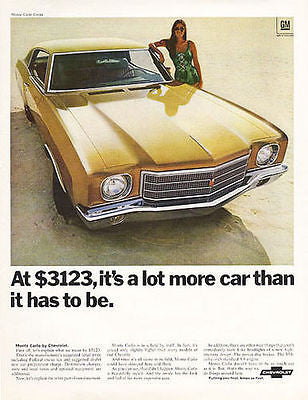 1970 Auto Ad Monte Carlo Coupe Chevrolet Vintage Automobile Classic Car Advert