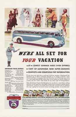 Greyhound Bus Blue & White 1937 AD Vacation Bus Travel