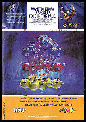 Candy Sinbag Magic Blue M&M Interactive Fold Candy Graphic Art 2003 Ad - Paperink Graphics