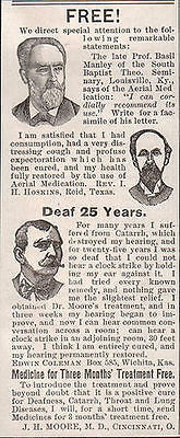 1896 Deafness Quackery Cure AD Catarrh Aerial Medication Dr. J. Moore Ohio - Paperink Graphics