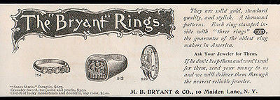 Ring AD 1893  Bryant Rings Gold Jewelry M.B. Bryant NY Antique Advertising