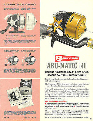 Garcia Fishing Catalog Ad 1950s Fishing Reel Abu-Matic 140 - Paperink Graphics