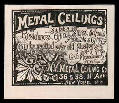 Metal Ceilings Ornate NY Metal Ceiling Co 1892 Tin Ceiling AD