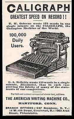 Caligraph Typewriter Upstrike 1889 Small Typing AD - Paperink Graphics