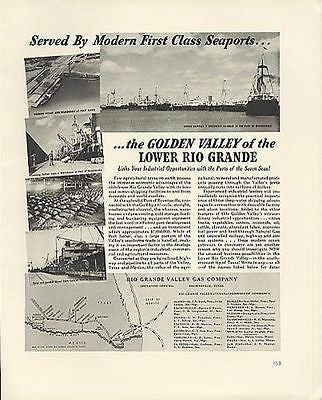 Brownsville TX Seaport Photo Illustrated 1941 Rio Grande Valley Gas Utilities  AD - Paperink Graphics