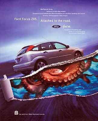 Ford Focus Octopus Ad 2002 Automobile Industry Ad - Paperink Graphics