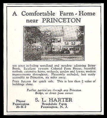 Brookdale Farm Sale Real Estate Near Princeton NJ 1929 Photo Ad - Paperink Graphics