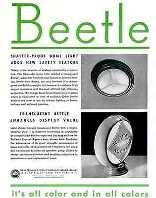 Railway Express Agency Translucent Globe 1937 Beetle Plastic Products Promo AD