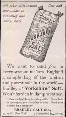 Yorkshire Salt Fine White Pure Salt 1896 AD Condiment Bradley Antique Ad - Paperink Graphics
