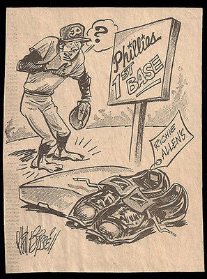 Richie Allen Phillies 1st Base Sports Cartoon Newspaper Clipping