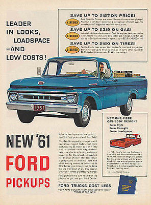 FORD Blue Pickup TRUCK Promo 1961 Ad