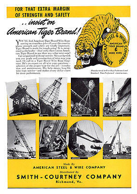 American TIGER Steel Wire AD 1950s Manufacturing Advertisement Smith-Courtney VA