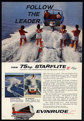Evinrude Starflite II 75hp Waterskiing Action 1960 Photo Ad Catalog Offer