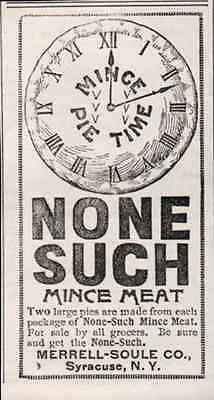 Clock Mince Pie Time NONE SUCH Mince Meat 1895 Food Desert AD