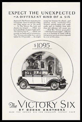 Dodge Victory Six Coupe Brougham 1928 Automobile Print Ad