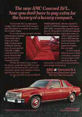 AMC Concord D/L 1977 AD Red Luxury Compact Auto Car Automobile Industry Promo - Paperink Graphics