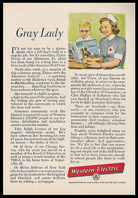 American Red Cross 1956 Volunteer AD Gray Lady Western Electric Advertisement - Paperink Graphics