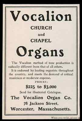 Vocalion Church Chapel Organs Musical Instrument 1902 Antique Original Period Ad - Paperink Graphics
