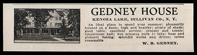 Kenoza Lake 1915 Sullivan County Gedney House on farm Healthy NY Hotel Photo AD