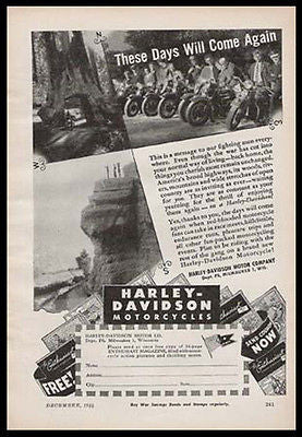 Harley Davidson Motorcycle 1944 WW II Photo Ad