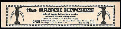 Ranch Kitchen Ad Rt66 Gallup New Mexico 1964 Roadside Ad Route 66 Indian Shop