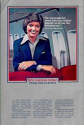 American Airlines Stewardess Flight Attendant 1980 Aviation Ad - Paperink Graphics