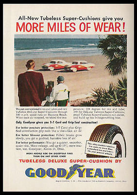 Auto Racing on Daytona Beach FL Goodyear 1955 Ad