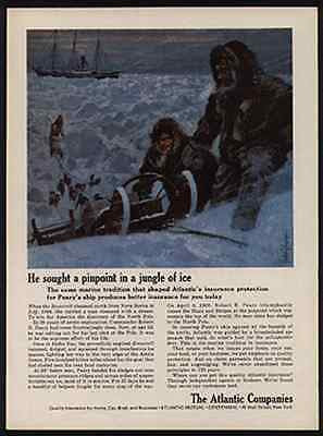 Peary Ship 1909 Explorer Dogsled Sled Dog Johnson Art AD Atlantic Insurance - Paperink Graphics