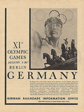 1936 Olympic Games Berlin Germany XIth Advertisement German Railroads NY Ad