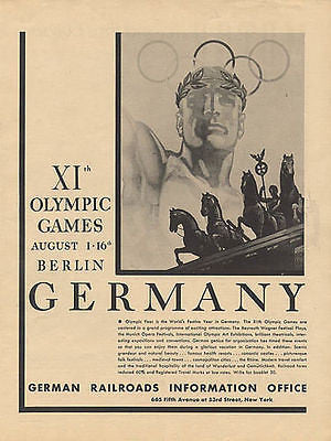 1936 Olympic Games Berlin Germany XIth Advertisement German Railroads NY Ad - Paperink Graphics