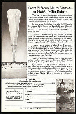 Air Balloon Launched by National Geographic Aviation 1934 Photo Illustration Ad