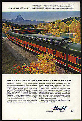 Budd Great Northern Empire Builder Dome Cars RR Leslie Ragan Art 1955 Ad