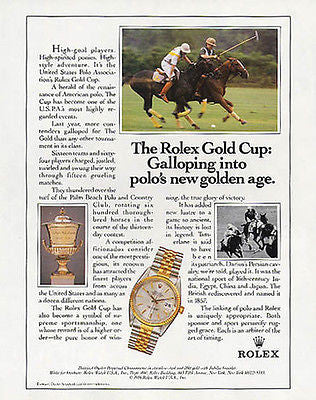 Rolex AD Rolex Oyster Perpetual Gold Cup Polo Game Rolex Chronometer 1986