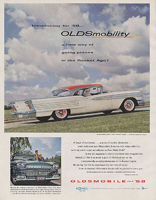 1958 Oldsmobile 98 Ninety- Eight Holiday Coupe Photo AD - Paperink Graphics