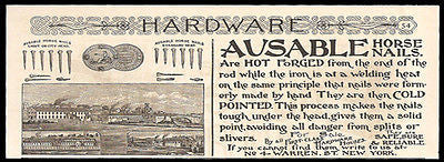 Horse Nails Ad 1891 Ausable Horse Nails Hot Forged Cold Pointed NYC Factory - Paperink Graphics