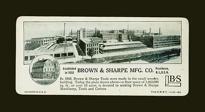 Brown & Sharpe Providence, RI Machinery Tools Manufacturing Calculating Card