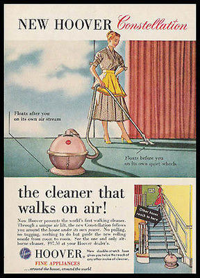 Hoover Vacumn Floats on Air 1956 Mid Century Modern Ad - Paperink Graphics
